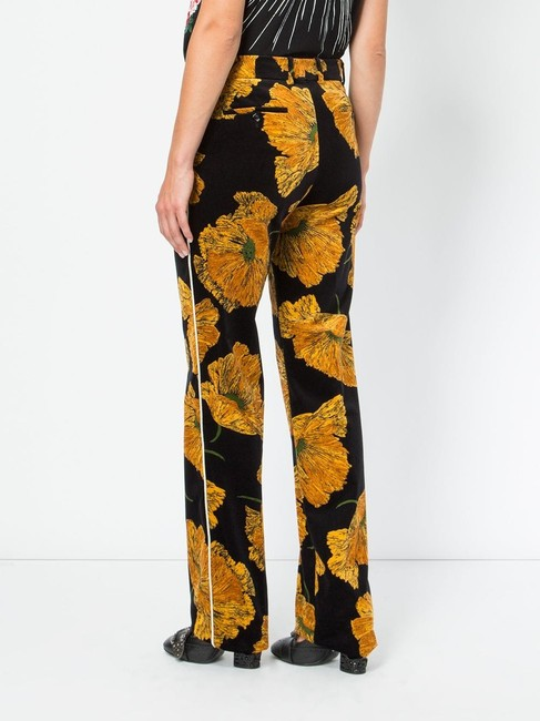 Gucci Relaxed Floral Women's Straight Pants Black & Yellow