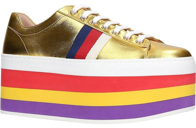 Item - Gold Classic Peggy Rainbow Platform Metallic Leather Lace-up Sneakers Size EU 37.5 (Approx. US 7.5) Regular (M, B)