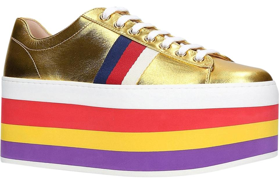 daa13ace54cb Gucci Rainbow Peggy Classic Metallic Sneakers Gold Athletic Image 0 ...