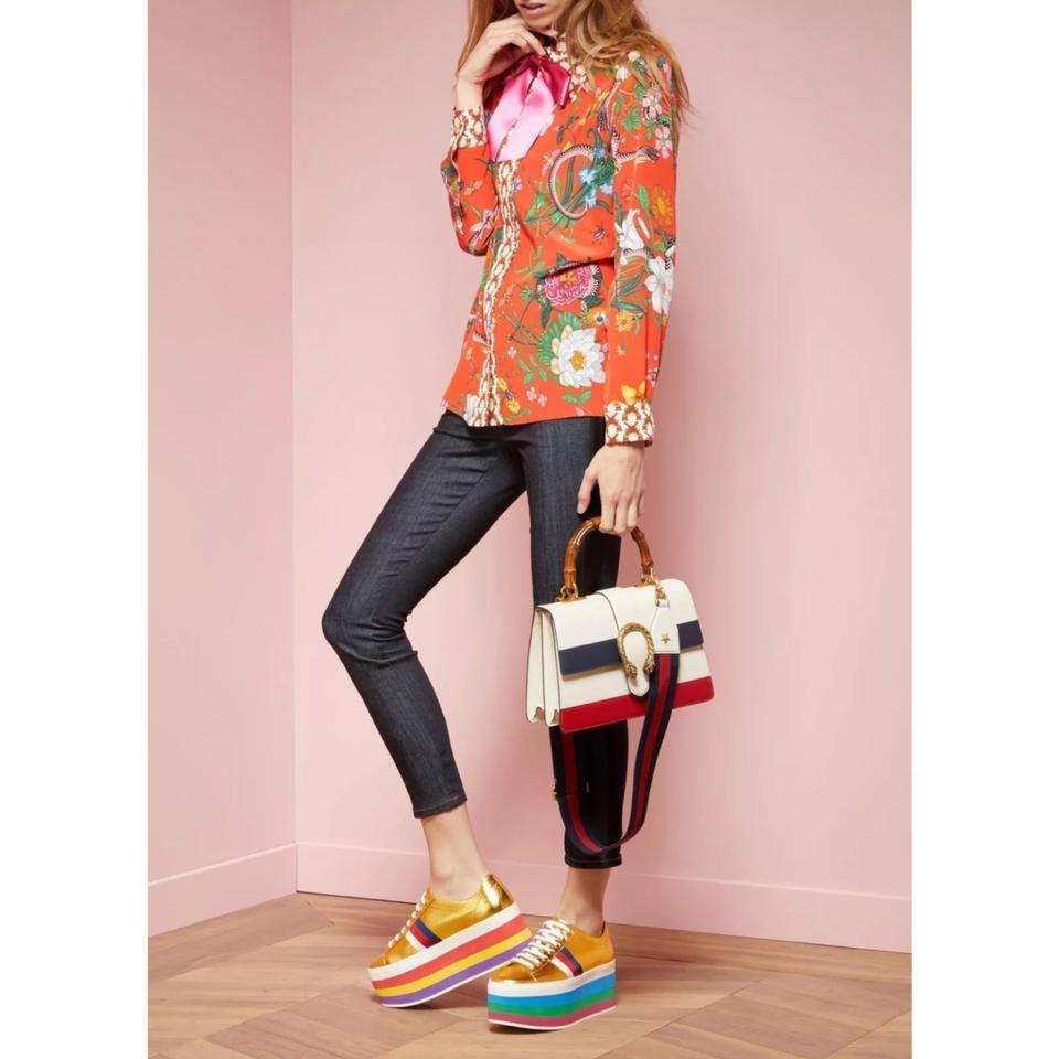 c27aceede67 Gucci Rainbow Peggy Classic Metallic Sneakers Gold Athletic Image 11.  123456789101112