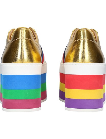 Gucci Rainbow Peggy Classic Metallic Sneakers Gold Athletic