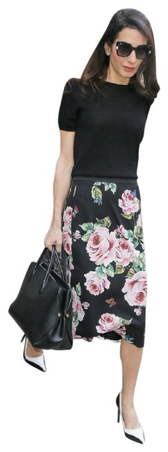 Preload https://item1.tradesy.com/images/dolce-and-gabbana-black-multi-dolce-and-gabbana-floral-print-stretch-silk-charmeuse-midi-knee-length-23888150-0-1.jpg?width=400&height=650