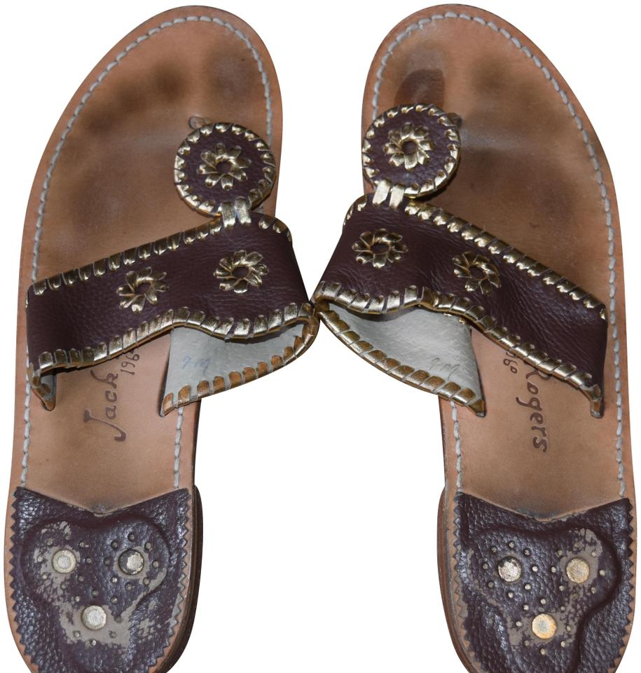 c90074e9764546 Jack Rogers Brown and Gold Palm Beach Sandals Size US 9 Regular (M ...