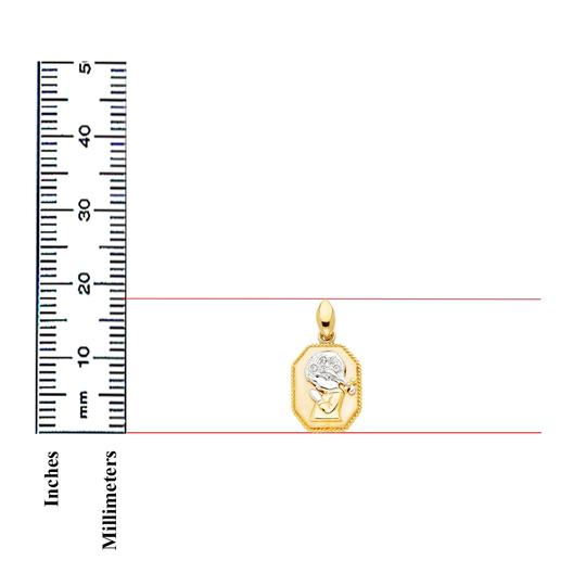 TD Collections 14K Two Tone Gold CZ Religious Praying Girl Pendant