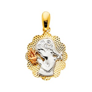 TD Collections 14K Tri Color Gold CZ Religious Praying Girl Pendant