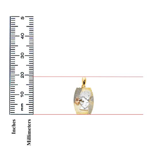 TD Collections 14K Tri Color Gold CZ Religious Praying Boy Pendant