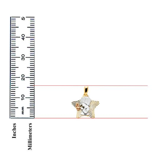 TD Collections 14K Tri Color Gold Star with Religious Praying Boy Pendant