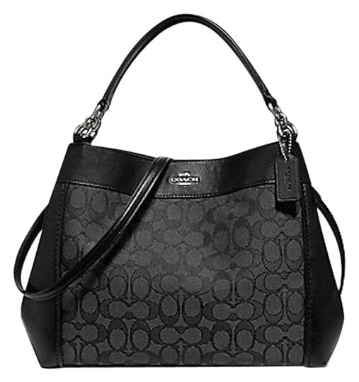 Preload https://item5.tradesy.com/images/coach-small-lexy-in-otln-smoke-black-signature-jacquard-leather-shoulder-bag-23888189-0-2.jpg?width=440&height=440