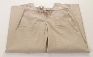 Tahari M48ml224 Womens Pale Oak Linen Stretch Wide Leg Wes Dress Pants
