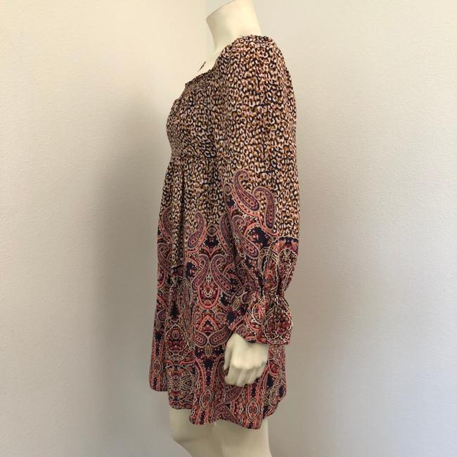 Anthropologie short dress Brown Bohemian Babydoll Long Sleeve Mini Paisley on Tradesy