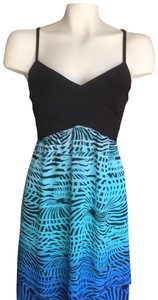 Nicole By Nicole Miller short dress Shades of teal and blue with black background on Tradesy