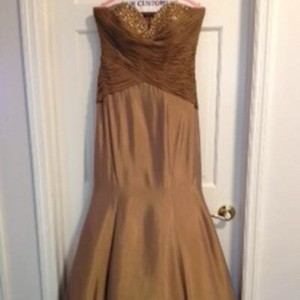 Jovani Cafe/Taupe Taffeta Evening Formal Bridesmaid/Mob Dress Size 8 (M)