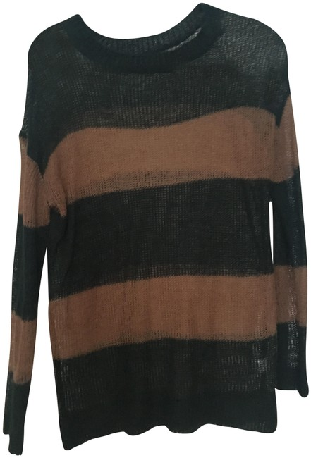 Preload https://item1.tradesy.com/images/urban-outfitters-hunter-green-and-brown-stripe-knit-sweaterpullover-size-8-m-23888345-0-1.jpg?width=400&height=650