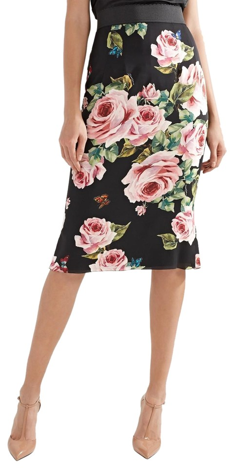 meticulous dyeing processes exclusive deals famous designer brand Dolce&Gabbana Black Multi Amazing Dolce & Gabbana Floral-print Stretch-silk  Charmeuse Skirt Size 4 (S, 27) 12% off retail