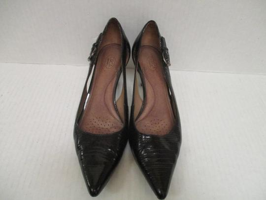 Circa Joan & David Pointed Toe Patent Cut-outs Croc Pewter Hardware Black Pumps
