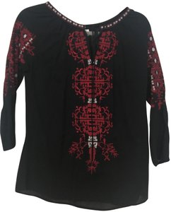 Francesca's Embroidered Blouse White Red Tunic