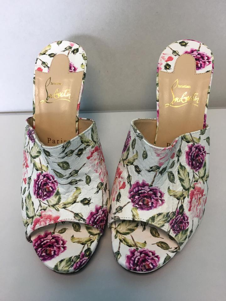 Mule Pumps Sandal Peep Christian toe Classic Louboutin Pigamule Watersnake Pink White 120mm Floral vT6qgxwS