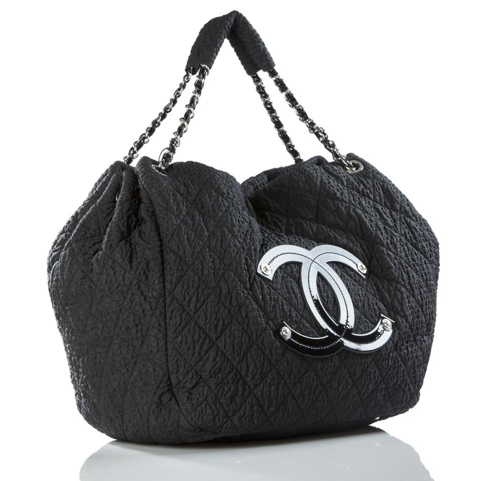 82a28b9e8fe1 Chanel Coco Cabas Tote Overnight Black Microfiber Nylon and Patent ...