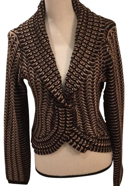 Preload https://img-static.tradesy.com/item/23888403/etcetera-peplum-style-collared-never-worn-black-and-tan-sweater-0-3-650-650.jpg