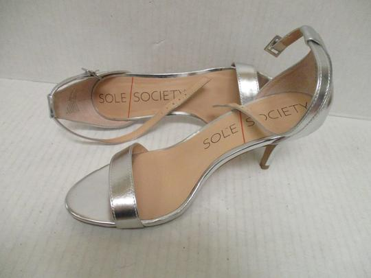 Sole Society Metallic Open Toe Ankle Strap Silver Pumps