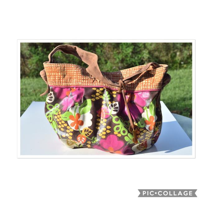 Item - Multi Color Brown/Orange/Cream Coated Canvas Hobo Bag