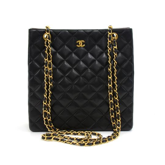 Preload https://item5.tradesy.com/images/chanel-vintage-quilted-tall-chain-black-lambskin-leather-shoulder-bag-23888514-0-0.jpg?width=440&height=440