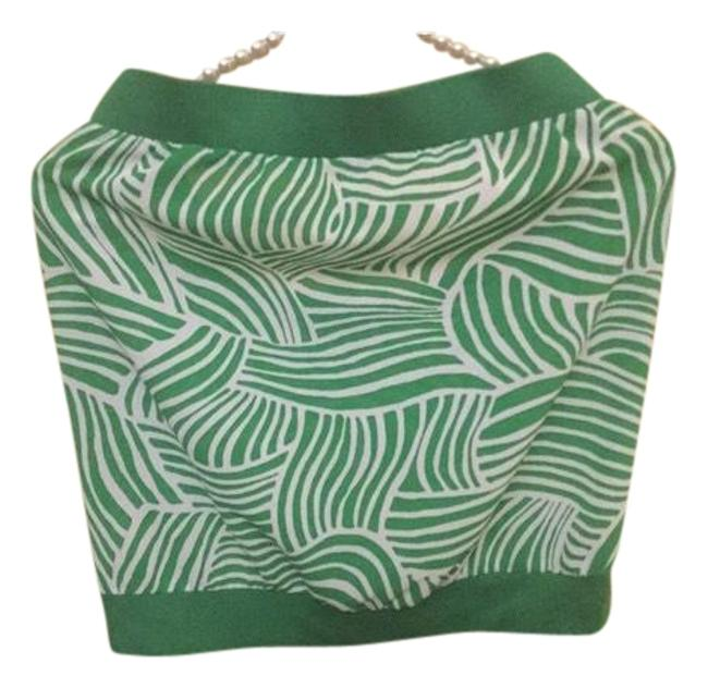Item - Green and White Sleeveless Summer Tank Halter Top Size 10 (M)