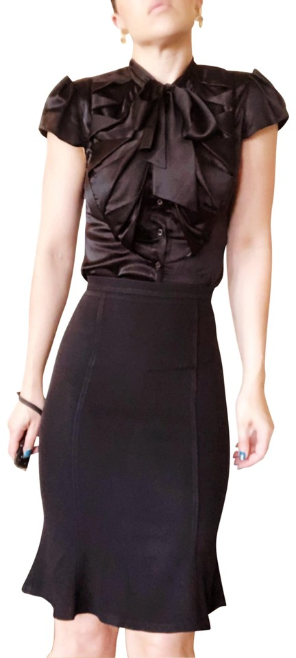 edf52d7b8f8e6d Dolce Gabbana Black D g Fitted Bodycon Stretch Pencil Flounce Hem Skirt
