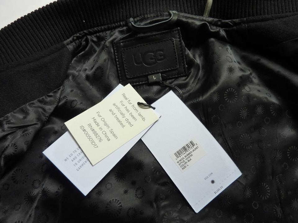 93538be50a5 UGG Australia Black Wool and Leather Trim with Lamb Fur Sleeve Bomber  Jacket Size 12 (L) 77% off retail