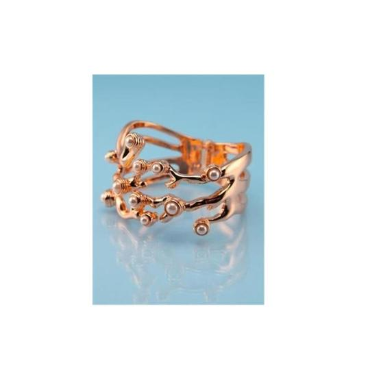 Wildfox Couture WILDFOX COUTURE 18KT ROSE GP CORAL/FAUX PEARL STATEMENT BRACELET**NEW Image 1