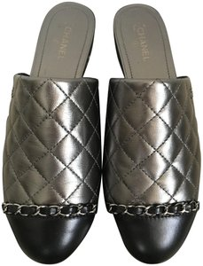 Chanel Quilted Leather Cap Toe Chain Dark Silver Black Flats