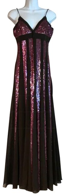 Item - Chocolate/Pink Embellished Silk S Long Cocktail Dress Size 6 (S)