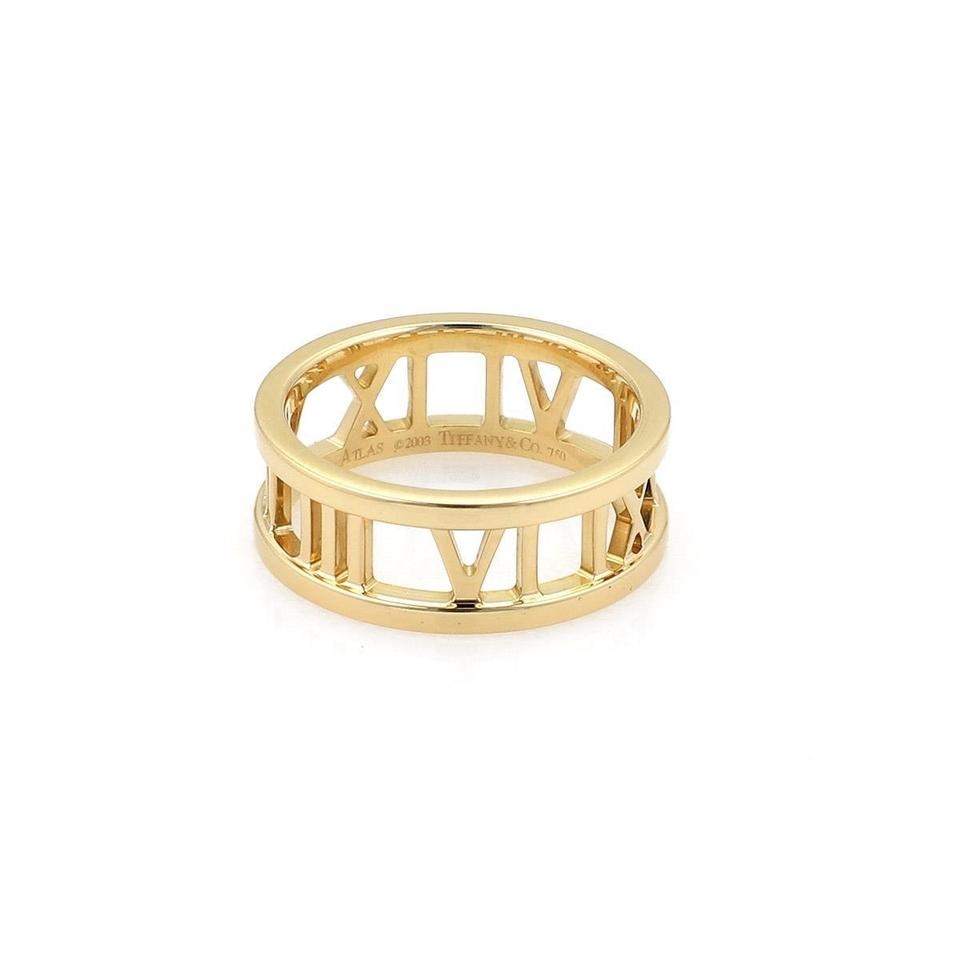 Tiffany Co Atlas 18k Yellow Gold Roman Numeral Open Band Ring Size 5