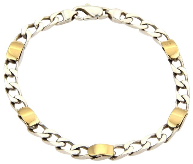 Tiffany & Co. 18k Gold Sterling Silver 5mm Wide Curb Link Chain Bracelet Tiffany & Co. 18k Gold Sterling Silver 5mm Wide Curb Link Chain Bracelet Image 1
