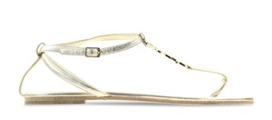 Saint Laurent Metallic Hardware Ankle Strap Logo Ysl Gold Sandals