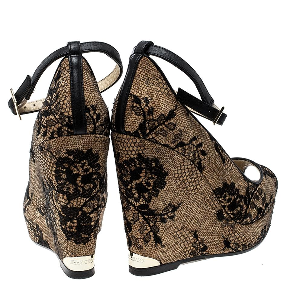 dc23ce783d ... Toe Pacific Choo Cork Wedge Lace Peep Jimmy Beige Ankle Pumps Strap and  XwxFX0R ...