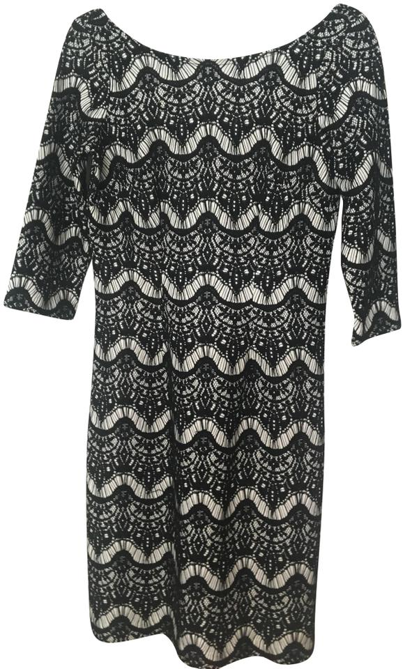 Lilly Pulitzer Black And White Lace Design Mid Length Cocktail Dress Size 4 S 64 Off Retail