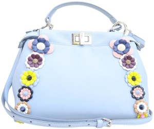 Fendi Peekaboo Mini Lambskin Satchel in blue