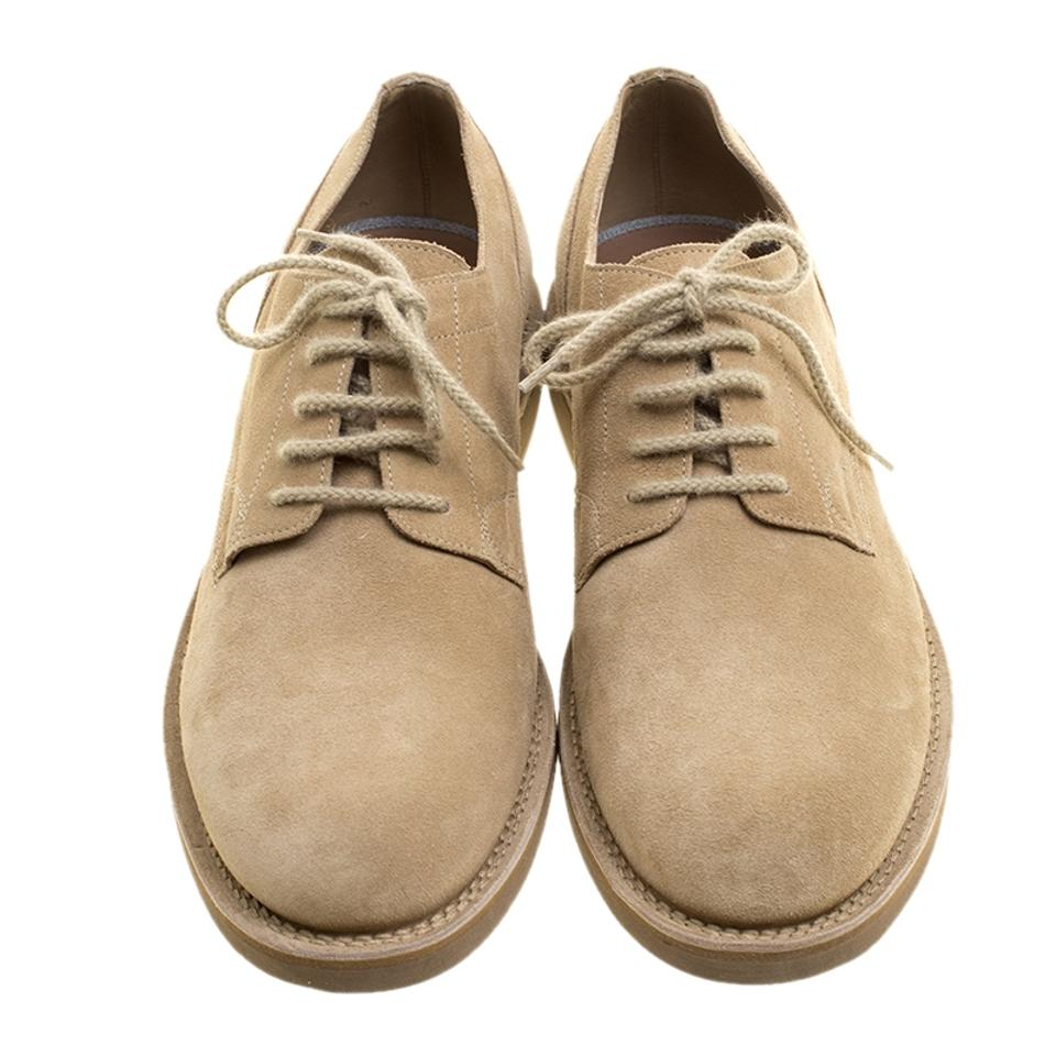 Brunello Cucinelli Lace Urban Suede Flats Up Beige Derby OOSqrnw7F