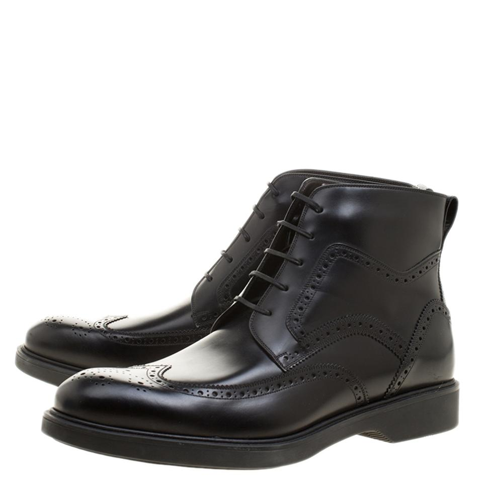 Tip Wing Leather Salvatore Boots Booties Ferragamo Gaiano Ankle Brogue Black OqSOZwBg