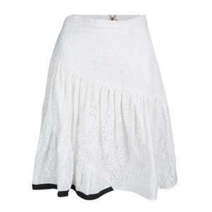N°21 Floral Patchwork Tiered Skirt White