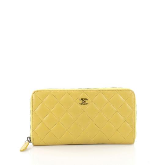 Chanel Zip Around Wallet Quilted Long Yellow Lambskin