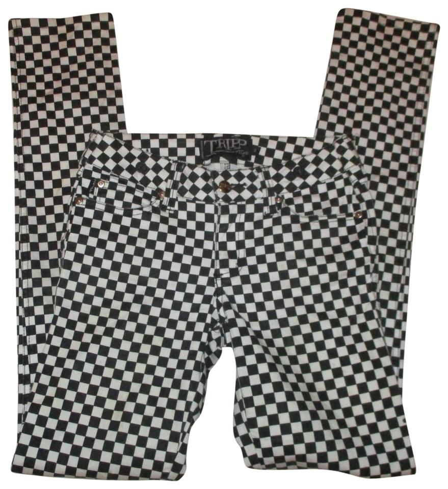 2d6b3e937b0 Tripp Nyc Black   White Daang Goodman Stretch Checkerboard Skinny ...