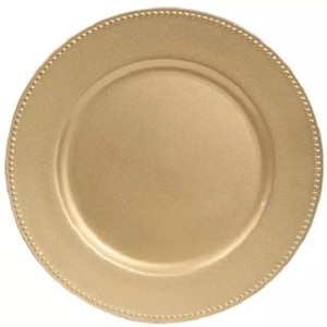 Gold Charger with Beaded Rim (Set Of 18) Tableware