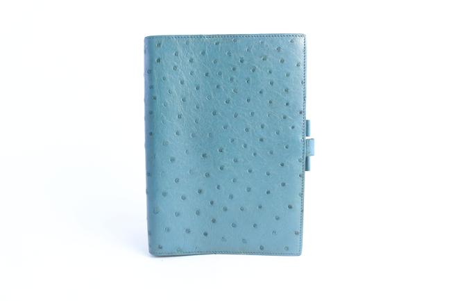 Item - Blue Ostrich Leather Vision Large Agenda Notebook Cover 7hz0821 Tech Accessory