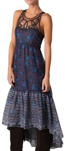 Maxi Dress by Free People Sleeveless Hi Lo Floral Print Lace Trim