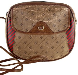 Gucci Vintage Gg Leather Canvas Cross Body Bag