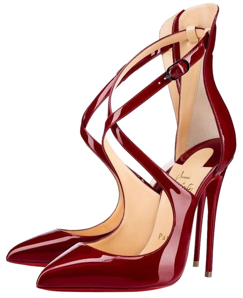 25a473fb4c75 Christian Louboutin Patent Leather Deep Red Burgundy Carmin Pumps Image 0  ...