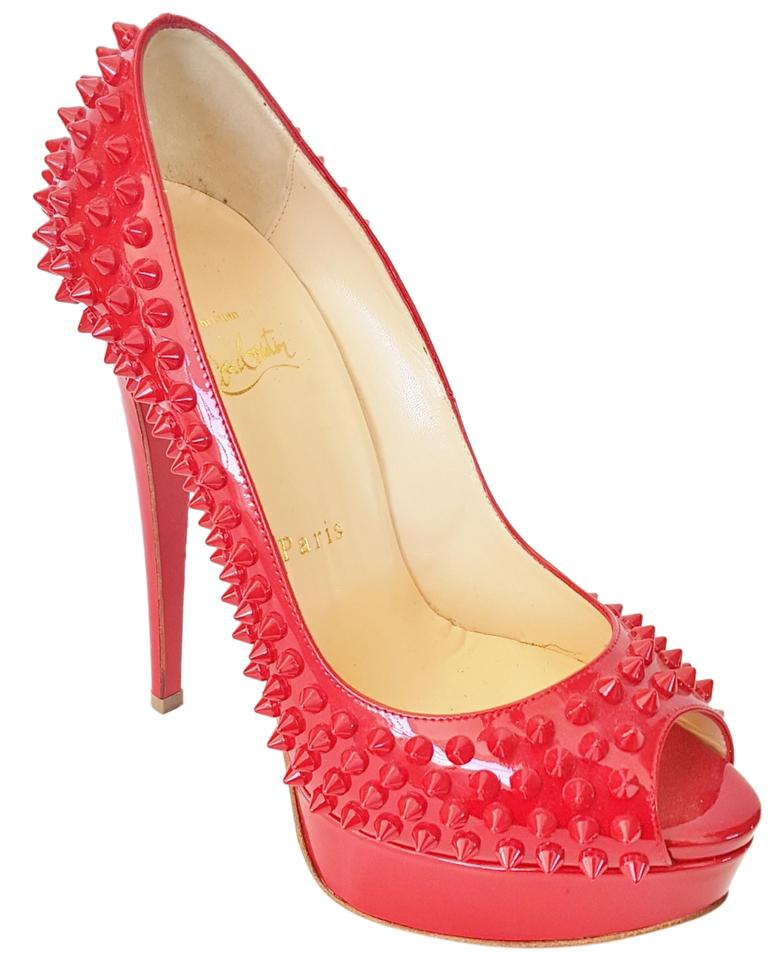 9fe52bb125b Christian Louboutin Raspberry Pink Lady Peep Spike 150 Patent Leather Pumps  6.5 Platforms