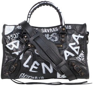 Balenciaga Leather Arena Graffiti Small Satchel in Black/White